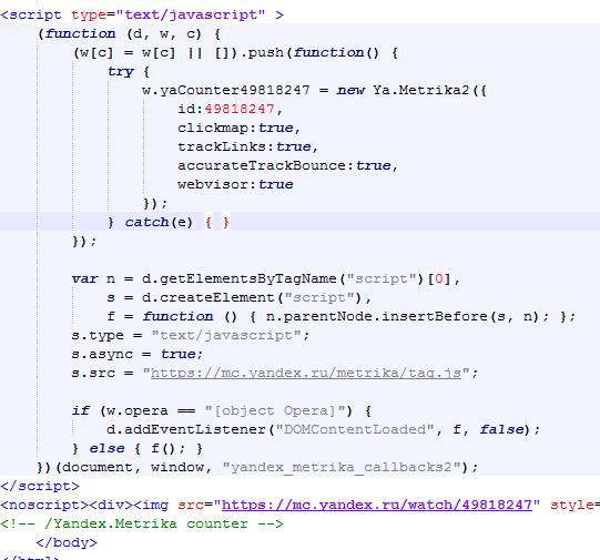 Код ЯНдекс Метрики на сайте