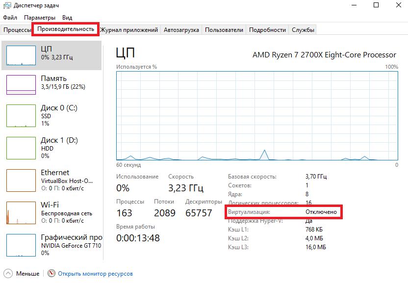 Диспетчер задач Windows 10 - производительность