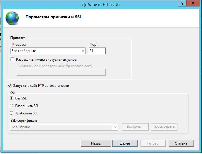 Параметры привязки SSL