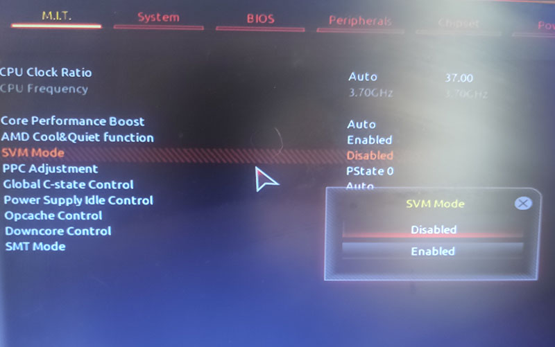 SVM Mode устанавливаем Enabled